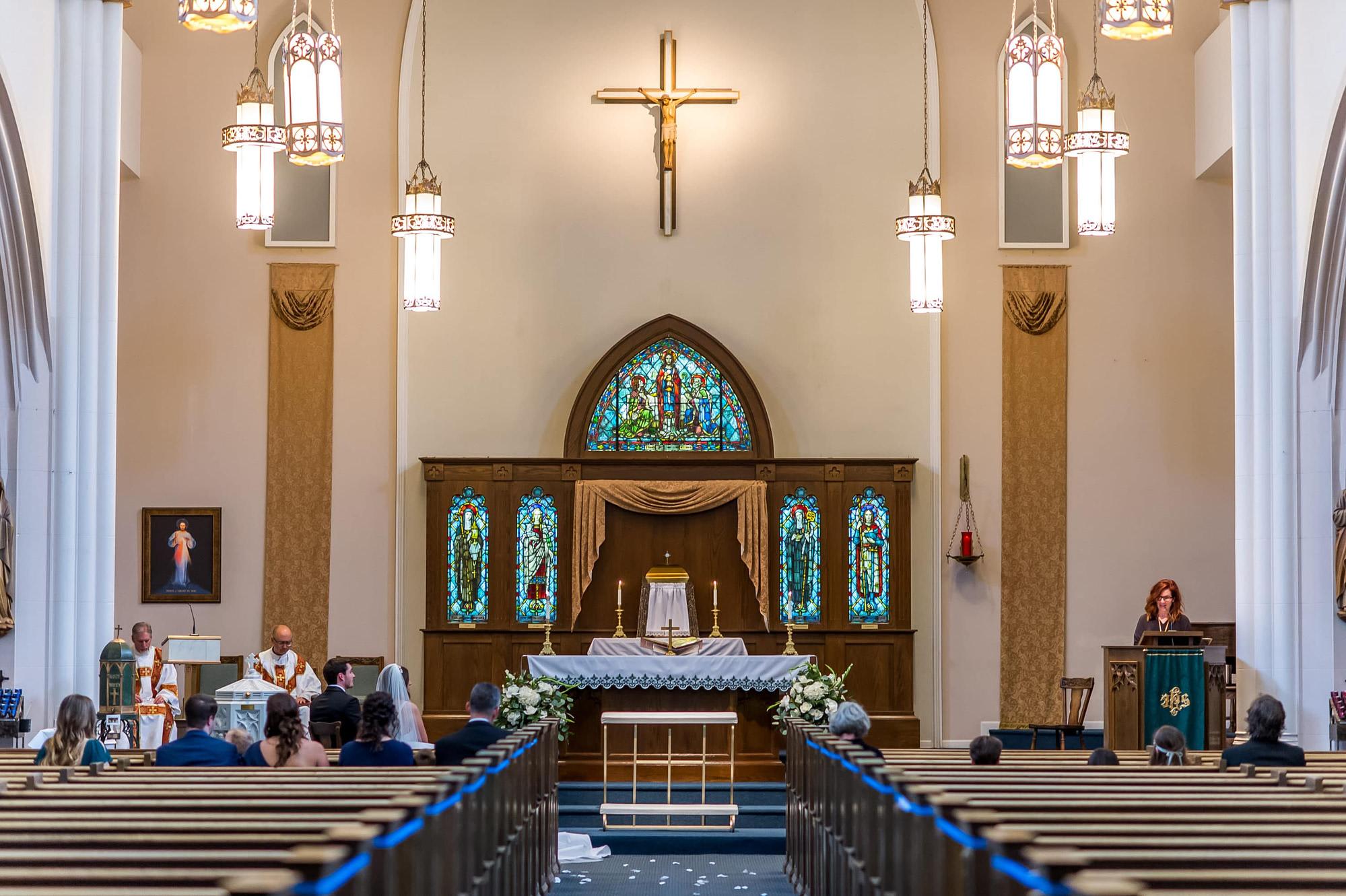 View of Blessed Sacrament Denver Catholic Church during a wedding.
